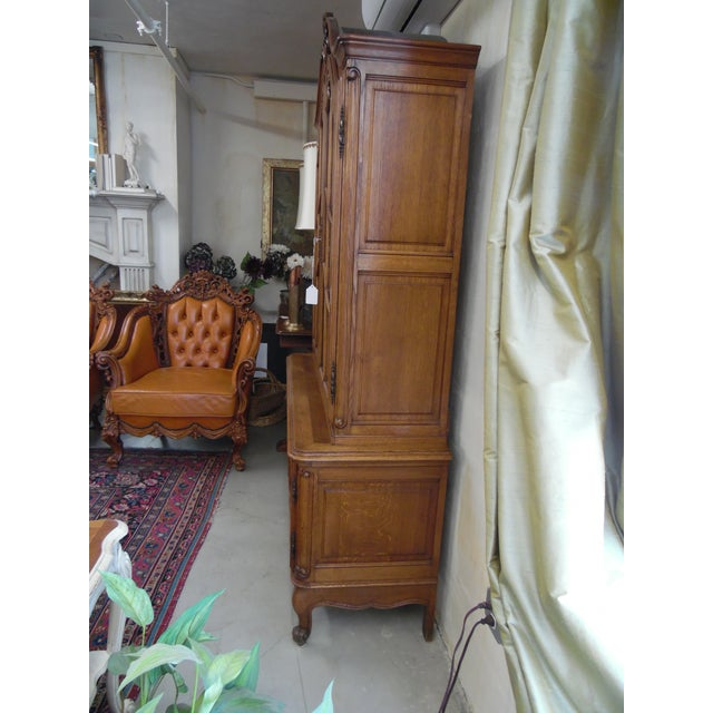 French French Solid Oak 2 Piece China Cabinet For Sale - Image 3 of 7