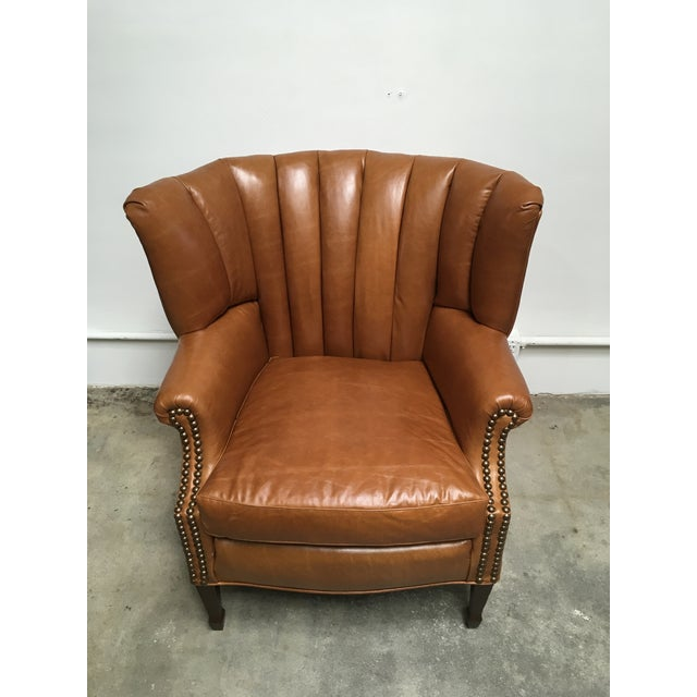 1940s Unique Channel Back Bucket Wing Chair For Sale - Image 13 of 13