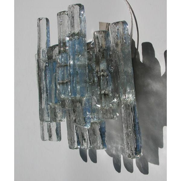 """J.T. Kalmar A Shimmering Pair of Austrian 1960's Clear """"Ice Block"""" Glass Wall Sconces by j.t. Kalmar For Sale - Image 4 of 4"""