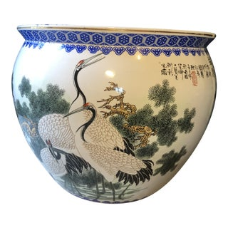 Asian Blue and White Fishbowl Planter For Sale