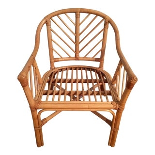 Vintage Bamboo Rattan Chippendale Club Chair