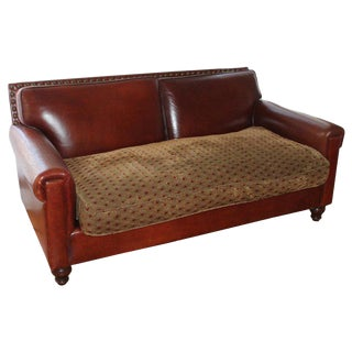 Antique Leather Sofa With Custom-Made Cushion For Sale