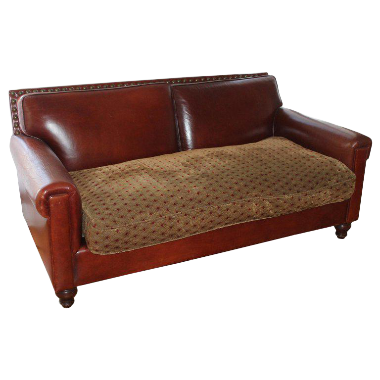 Antique Leather Sofa With Custom Made Cushion