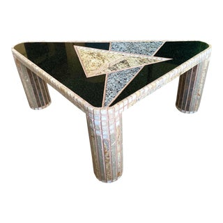 Artist Made Mosaic Mixed Stone Triangular Side Table For Sale