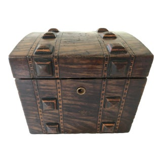 Antique Wooden Tea Caddy For Sale