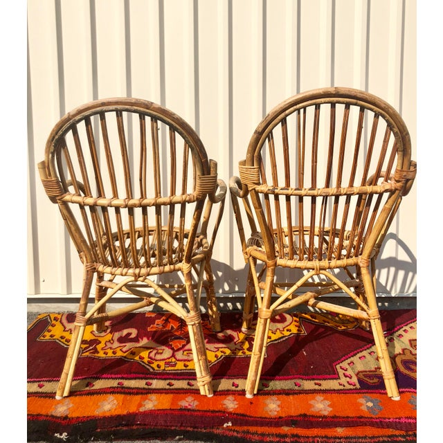 Albini Style Bamboo Rattan Bistro Chairs- a Pair For Sale - Image 10 of 13