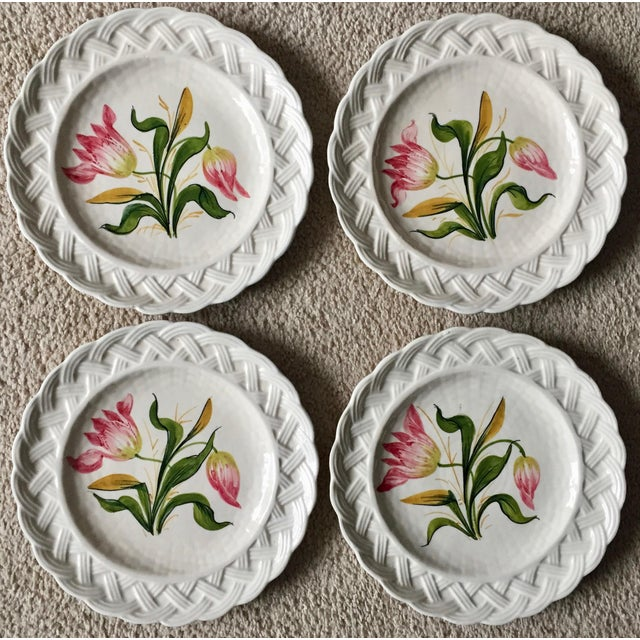 Italian Faience Hand-Painted Tulip Plates-Set 8 For Sale In New York - Image 6 of 13