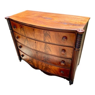 1810 American Sheraton Cuban Mahogany Bow Front Chest of Drawers For Sale