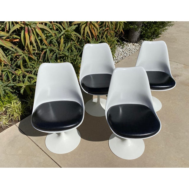 White Saarinen Tulip Armless Chairs- Set of 4 For Sale - Image 8 of 12
