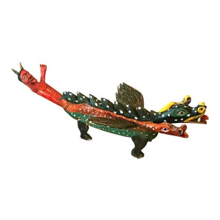1980s Vintage Mexican Indigenous Tribal Folk Art Dragon & Devil Sculpture