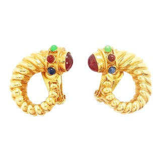 Gold Tone Cabochons Statement Earrings by Kenneth Jay Lane For Sale