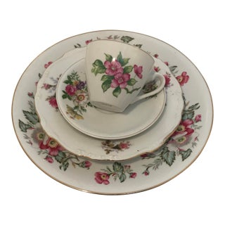 Early 20th Century Antique Mismatched China Table Setting - 4 Pieces For Sale