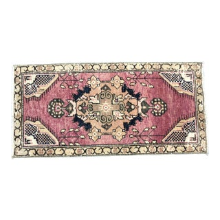 Vintage Floral Design Turkish Anatolian Decorative Red Small Rug For Sale