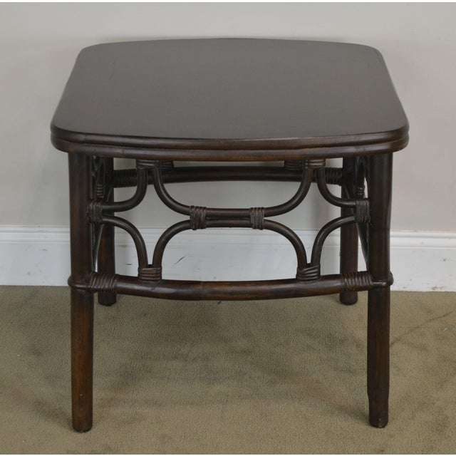 Wood Vintage Rattan Pair Side Tables For Sale - Image 7 of 13