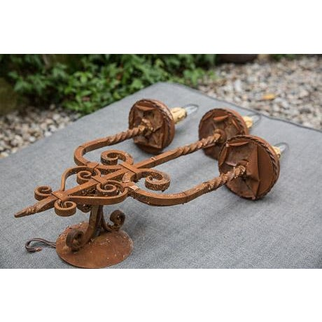 3 Hand-Forged Iron Sconces with Rust Finish - Image 3 of 3