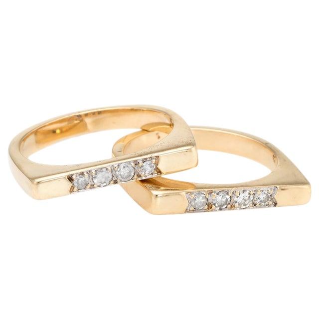 Vintage Set of 2 Stacking Rings Diamond 14 Karat Yellow Gold Bridge Square For Sale