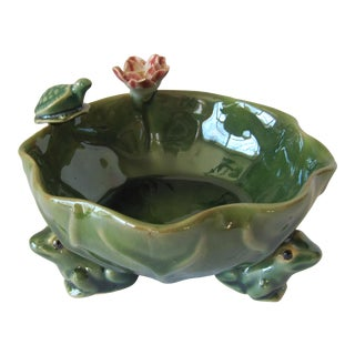 Lotus Bowl With a Turtle and Flower For Sale