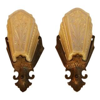1920s Spanish Deco Sconces - a Pair For Sale