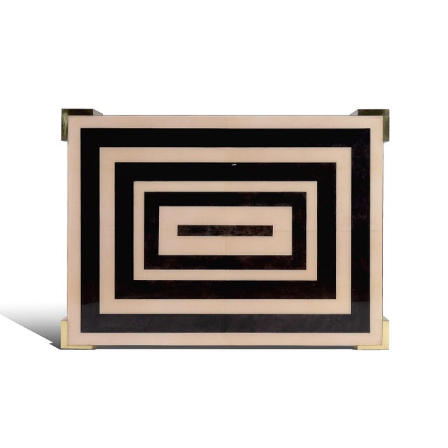 Fabulous Art-Deco Goatskin Inlay Coffee Table in Natural & Charcoal hand-dyed parchment with resin-glazed high gloss...