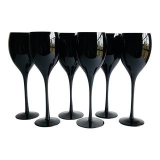Black Wine Glasses - Set of 6