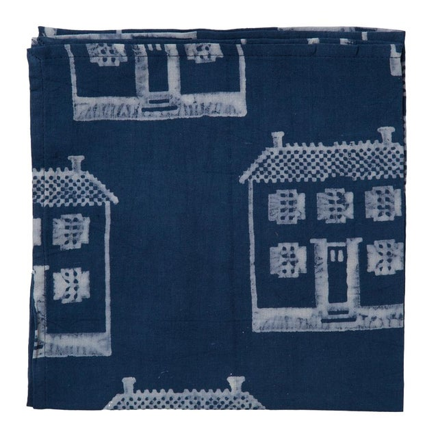 Contemporary Countryside Cottage Napkins, Indigo - A Pair For Sale - Image 3 of 4