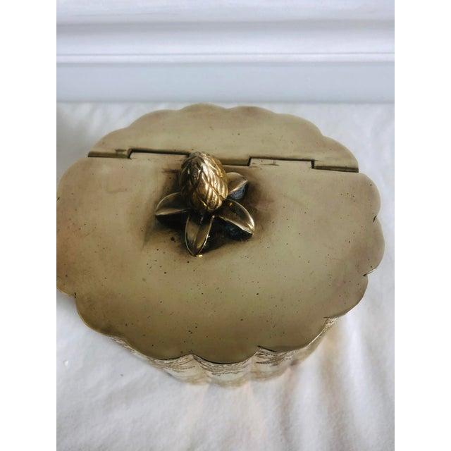 French 1970s Vintage Lidded Brass Trinket Box For Sale - Image 3 of 8