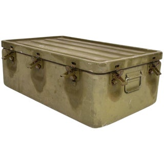 Wwii Military Aluminium Box Original Olive Green, Industrial, Midcentury Period For Sale