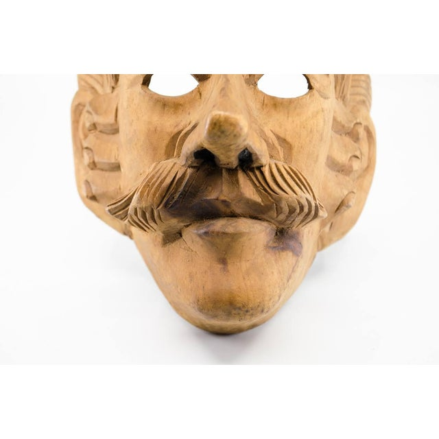 Italian Wood Carved Decorative Male Masks - a Pair For Sale - Image 4 of 13