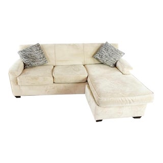 Rowe Furniture Contemporary Suede Upholstered Sectional Sofa For Sale