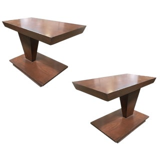 Asymmetric Mid Century Walnut Side Table, Pair For Sale