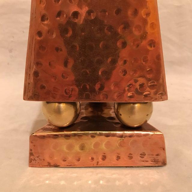 Hammered Copper & Brass Pyramidal Obelisk For Sale - Image 4 of 5