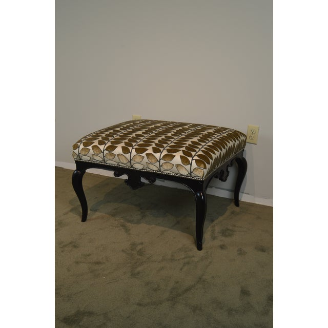 French Louis XV Style Black Painted Large Ottoman Footstool For Sale - Image 11 of 13