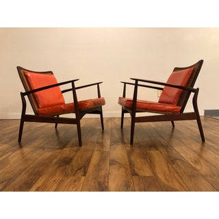 Ib Kofod Larsen Mid Century Spear Chairs With Cane Backs, Made in Denmark Preview