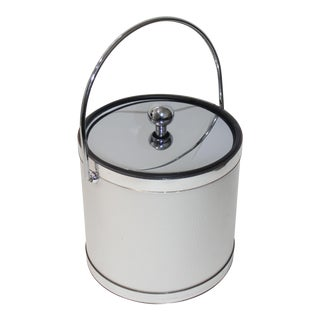 Vintage Ice Bucket Polished Stainless Steel and Mylar For Sale