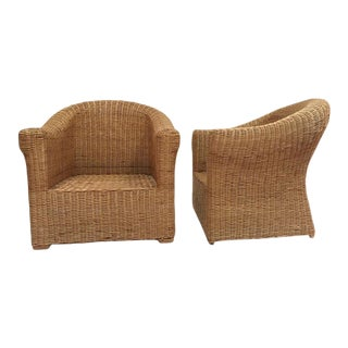 1970s Sculpted Rattan Club Chairs - a Pair For Sale