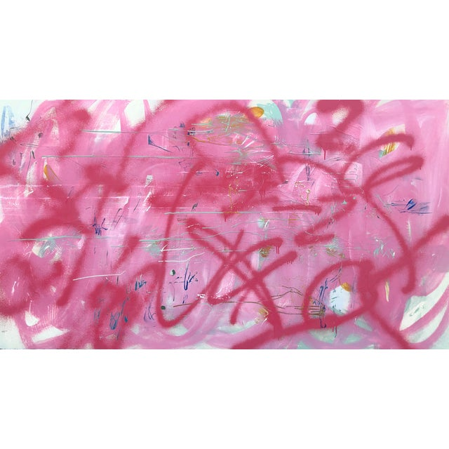 Large Abstract Pink Painting on Panel by Mirtha Moreno For Sale