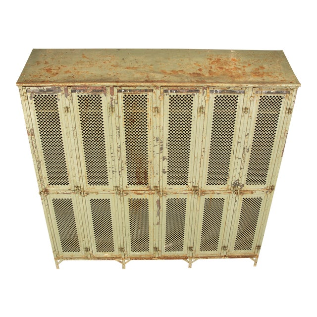 Antique French Industrial Original Painted Lockers For Sale