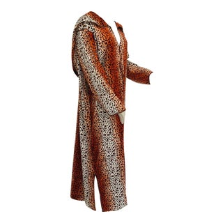 1970s Moroccan Hooded Caftan Animal Print Djellabah Kaftan For Sale