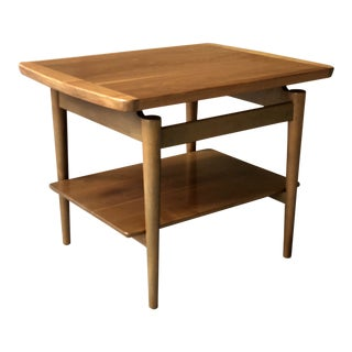 Jens Risom Mid-Century Modern Danish Bi-Level Floating Top Walnut End Table