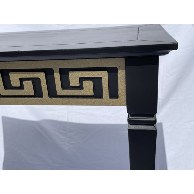 Vintage Black and Gold Narrow Side Table For Sale - Image 4 of 12
