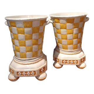 Portuguese Yellow & Cream Faience Cachepots - A Pair For Sale