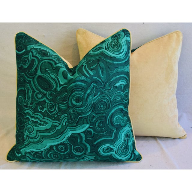 "Cotton Jim Thompson Malachite Feather/Down Pillows 24"" Square - Pair For Sale - Image 7 of 10"