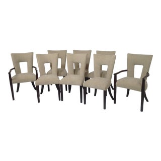 Contemporary Tan Chenille Dining Chairs - Set of 8 For Sale