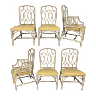 Rattan Loop Back Dining Chairs by Lexington, Set of 6 For Sale