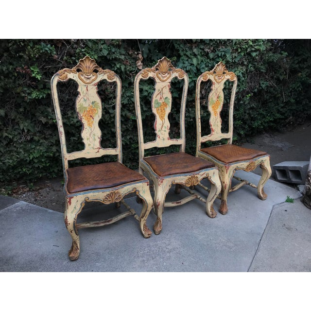 Animal Skin Late 18 C. Italian Carved and Handpainted Chairs - Set of 3 For Sale - Image 7 of 13
