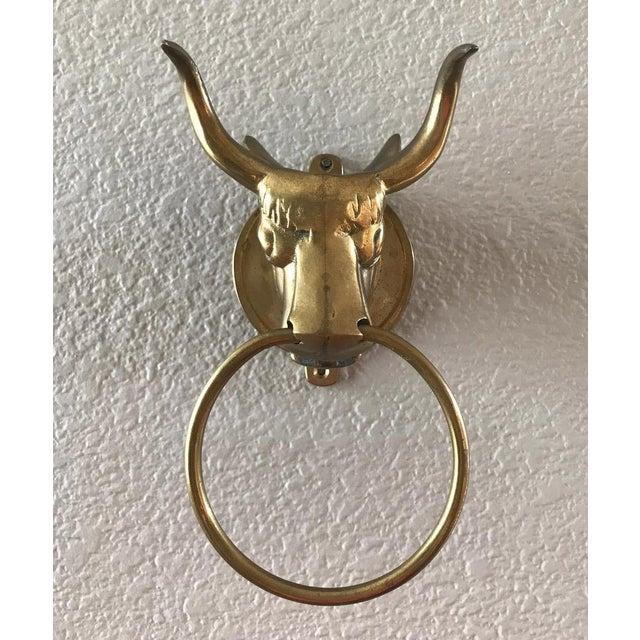 Vintage Brass Bull Door Knocker - Image 3 of 8