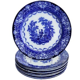 Flow Blue Doulton Dinner Plates - Set of 8