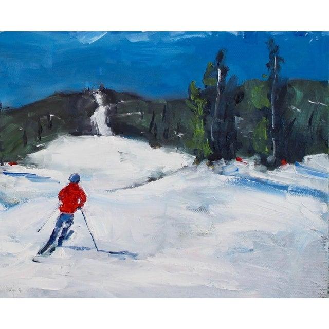 Canvas Diamond Peak Run Original Oil Painting Landscape For Sale - Image 7 of 12
