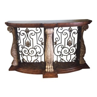Metal & Stone Leather Top Console