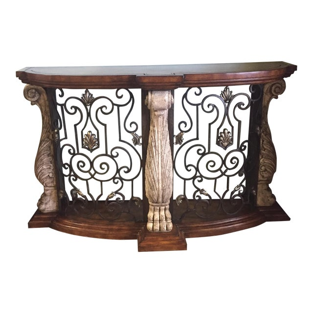 Metal & Stone Leather Top Console - Image 1 of 7